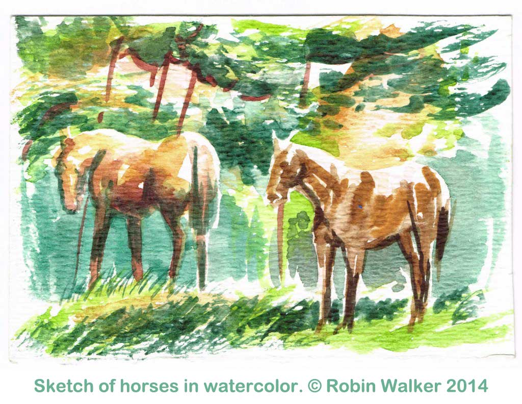 watercolor-horses