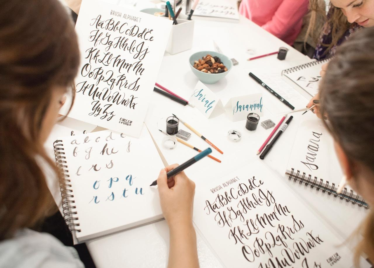 Students Learning Calligraphy In Seattle Class Rekindle